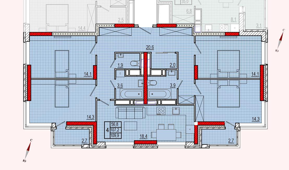 Микрорайон «Центральный», корпус 16, секция 1, квартира 109,9 м2