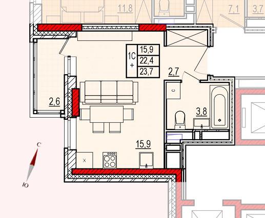 Микрорайон «Центральный», корпус 16, секция 1, квартира 23,7 м2