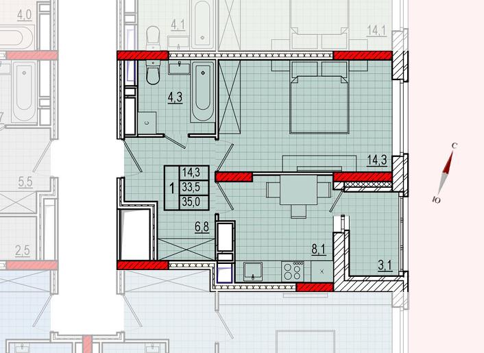 Микрорайон «Центральный», корпус 16, секция 1, квартира 35,0 м2