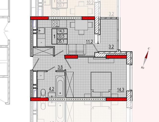 Микрорайон «Центральный», корпус 16, секция 1, квартира 35,1 м2