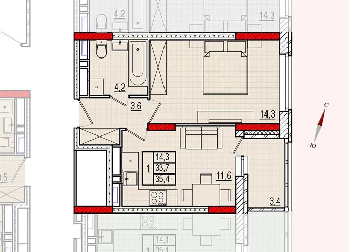 Микрорайон «Центральный», корпус 16, секция 1, квартира 35,4 м2