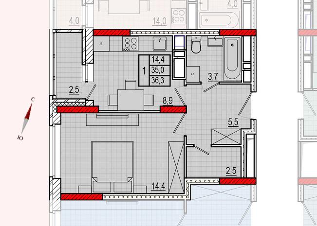 Микрорайон «Центральный», корпус 16, секция 1, квартира 36,3 м2