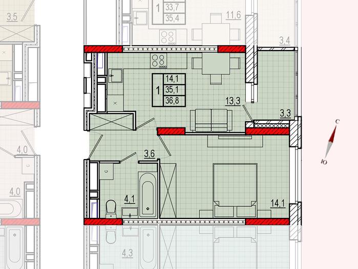 Микрорайон «Центральный», корпус 16, секция 1, квартира 36,8 м2