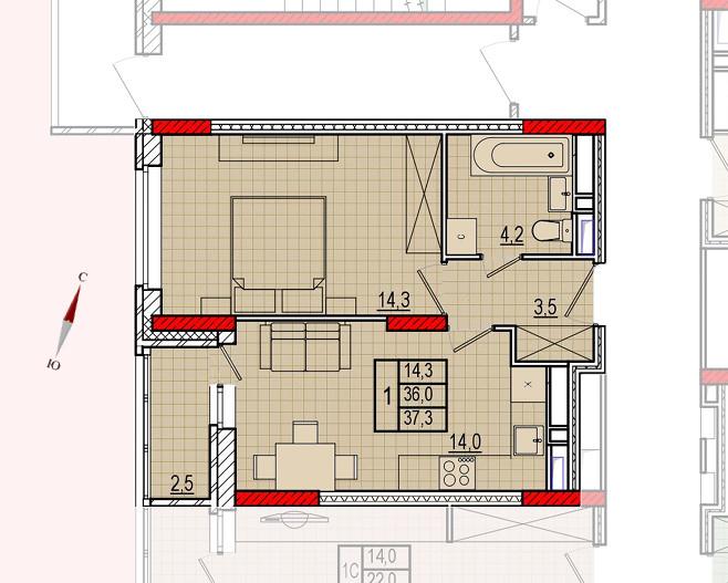 Микрорайон «Центральный», корпус 16, секция 1, квартира 37,3 м2