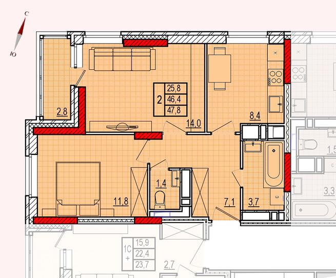 Микрорайон «Центральный», корпус 16, секция 1, квартира 47,8 м2