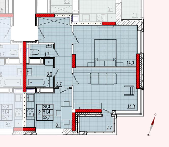 Микрорайон «Центральный», корпус 16, секция 1, квартира 52,7 м2, вариант 2