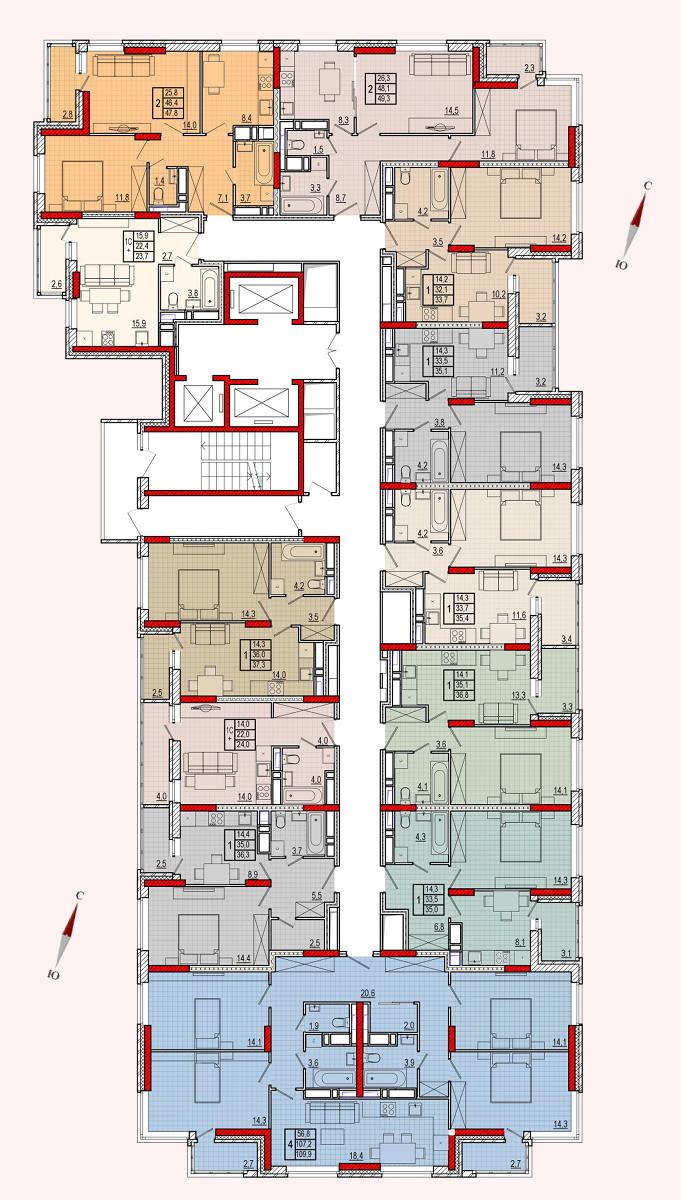 Микрорайон «Центральный», корпус 16, секция 1, этажи 14-25