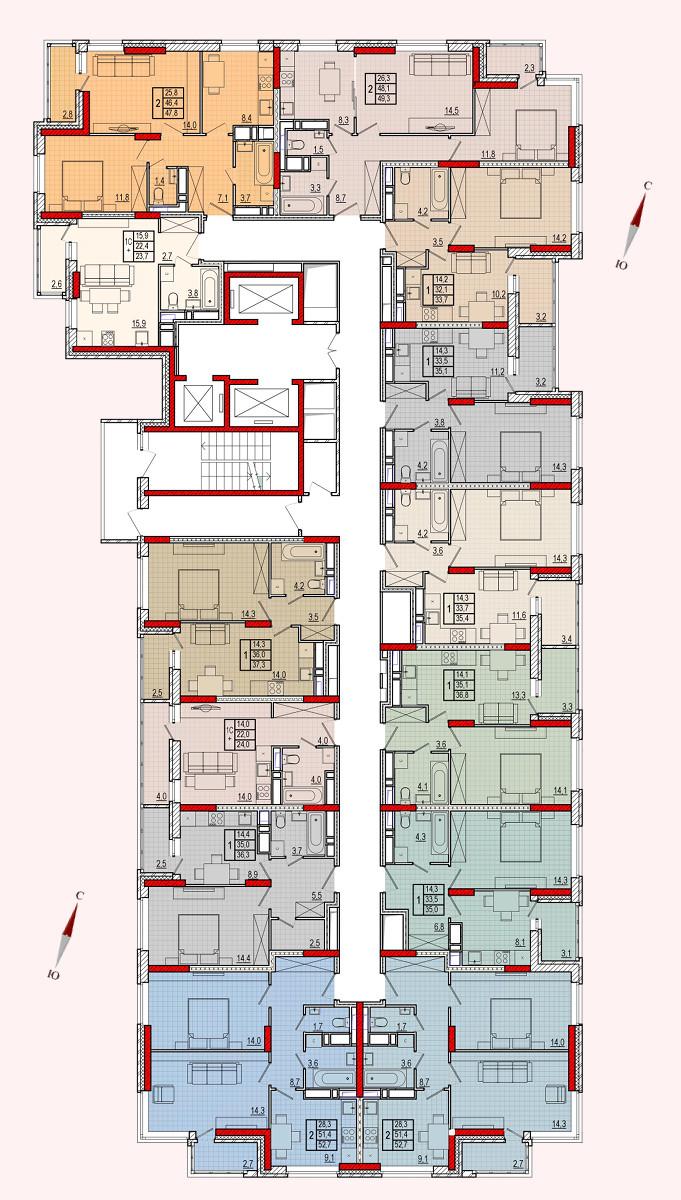 Микрорайон «Центральный», корпус 16, секция 1, этажи 2-13