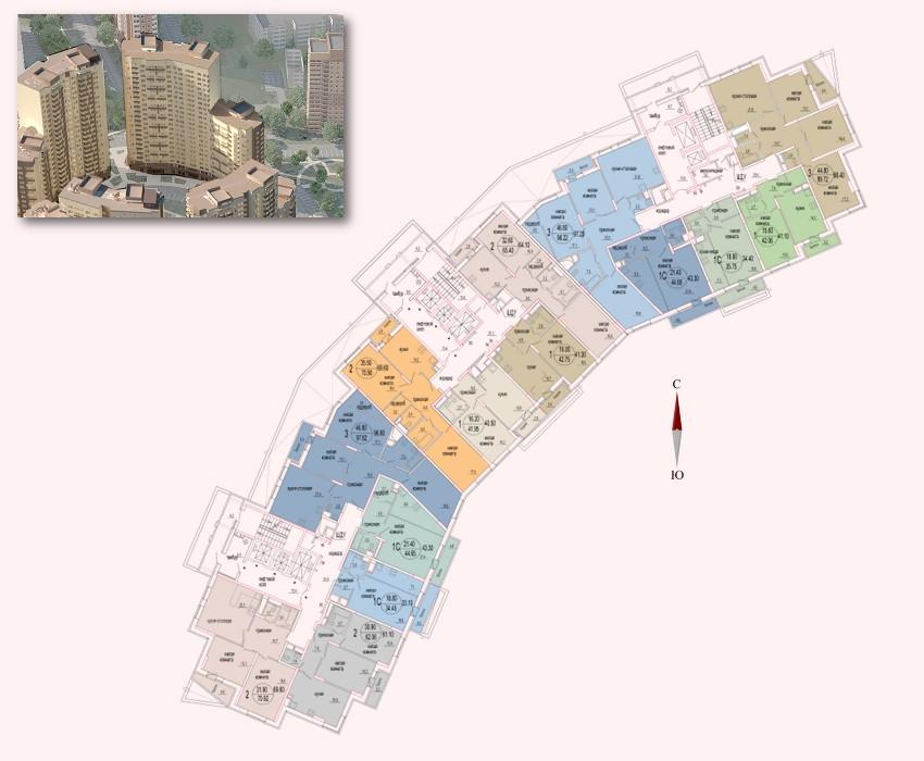 Микрорайон «Центральный», корпус 52а, выбор секций