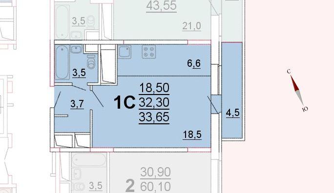Микрорайон «Центральный», корпус 52а, секция 1, квартира 33,65 м2