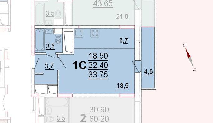 Микрорайон «Центральный», корпус 52а, секция 1, квартира 33,75 м2