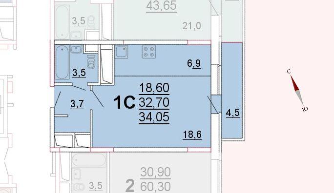Микрорайон «Центральный», корпус 52а, секция 1, квартира 34,05 м2