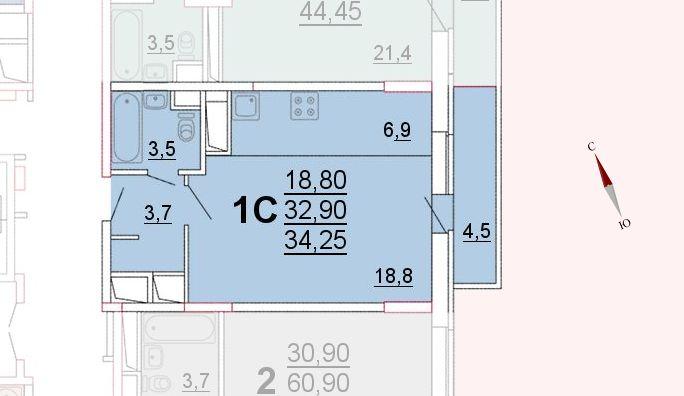 Микрорайон «Центральный», корпус 52а, секция 1, квартира 34,25 м2
