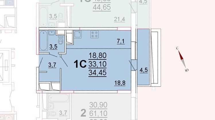 Микрорайон «Центральный», корпус 52а, секция 1, квартира 34,45 м2