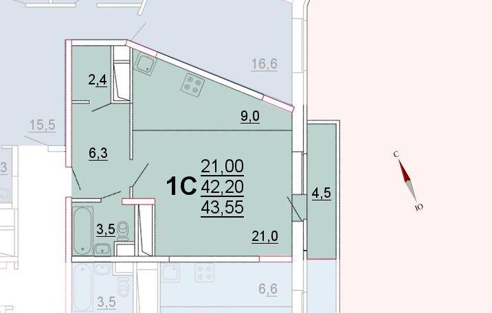 Микрорайон «Центральный», корпус 52а, секция 1, квартира 43,55 м2