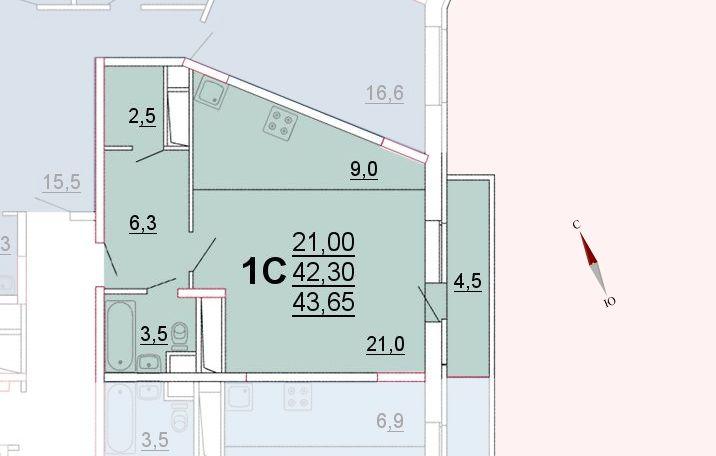 Микрорайон «Центральный», корпус 52а, секция 1, квартира 43,65 м2