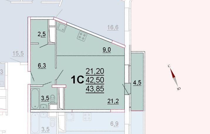 Микрорайон «Центральный», корпус 52а, секция 1, квартира 43,85 м2