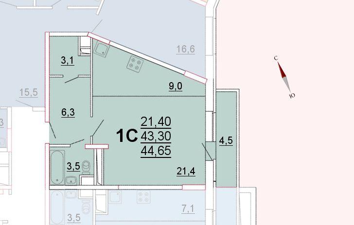 Микрорайон «Центральный», корпус 52а, секция 1, квартира 44,65 м2