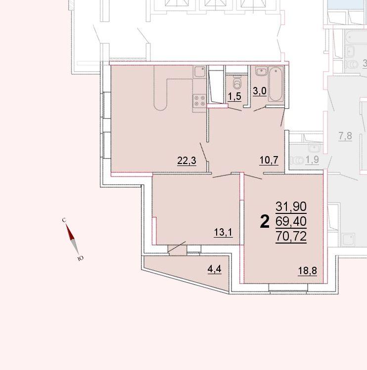 Микрорайон «Центральный», корпус 52а, секция 1, квартира 70,72 м2