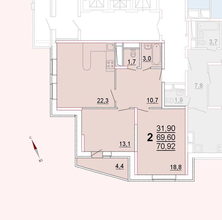 Микрорайон «Центральный», корпус 52а, секция 1, квартира 70,92 м2