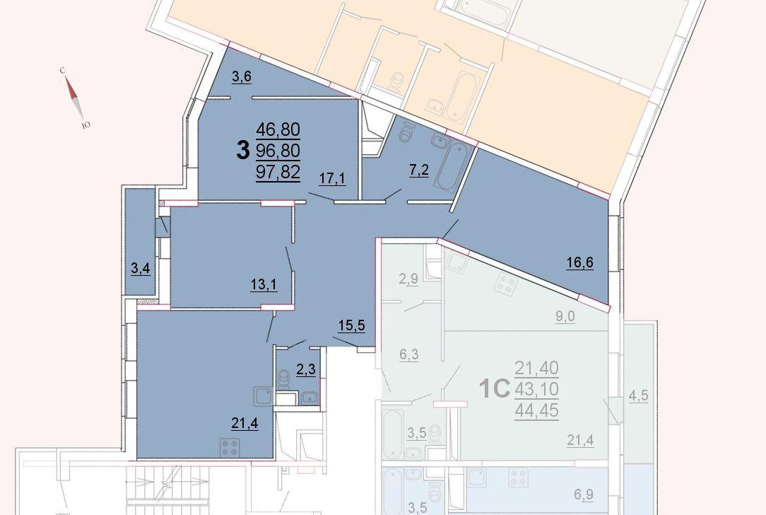 Микрорайон «Центральный», корпус 52а, секция 1, квартира 97,82 м2
