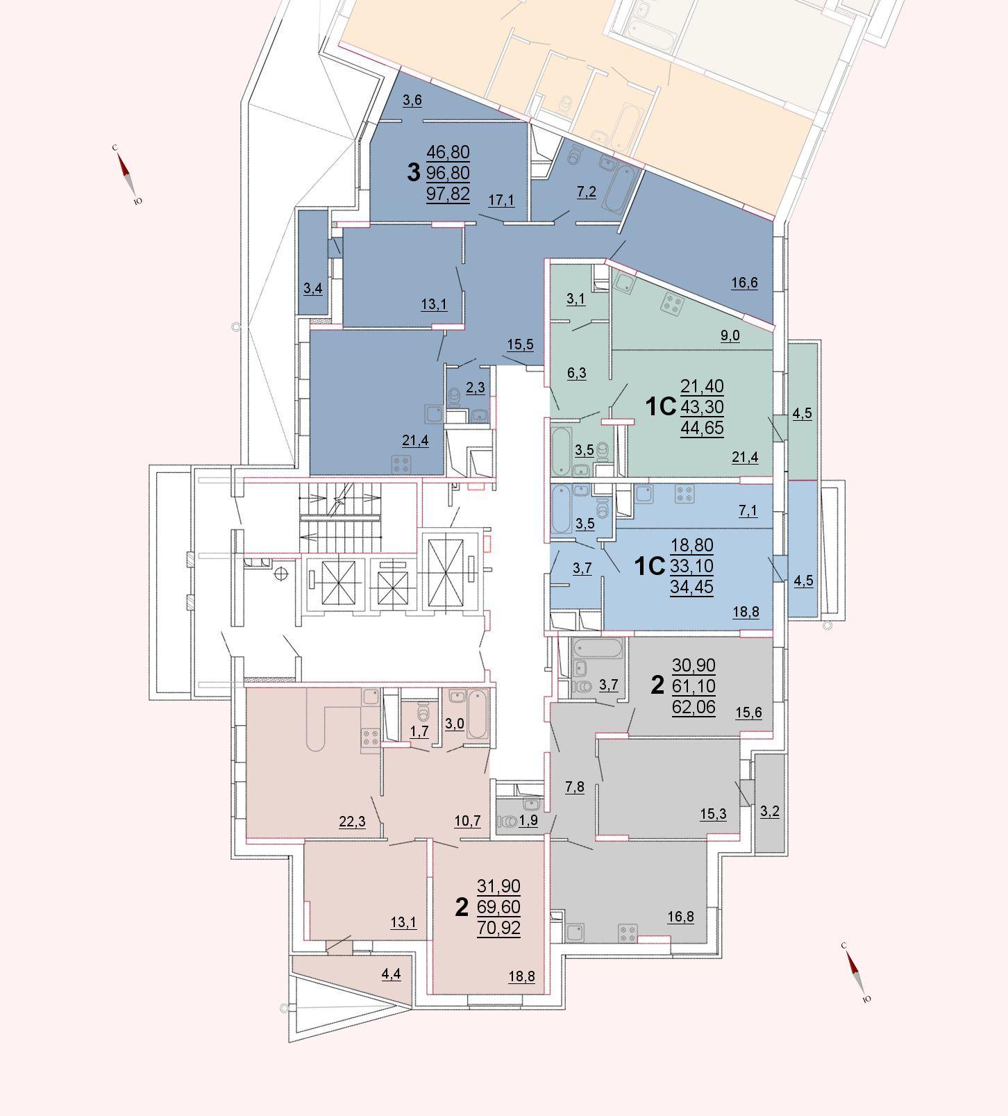 Микрорайон «Центральный», корпус 52а, секция 1, этаж 2