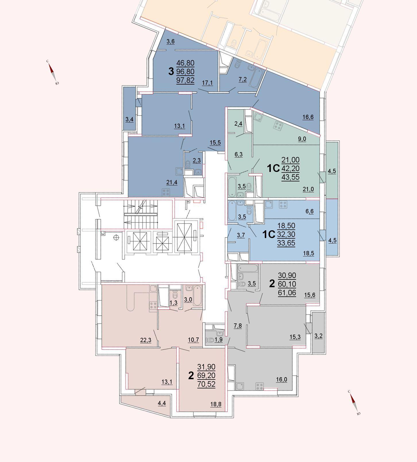 Микрорайон «Центральный», корпус 52а, секция 1, этажи 22-23