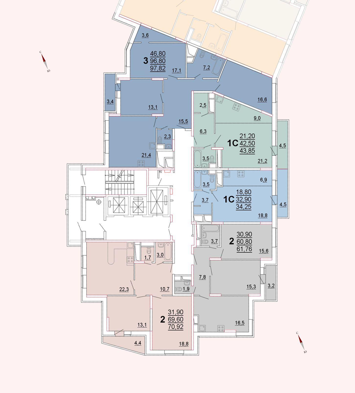 Микрорайон «Центральный», корпус 52а, секция 1, этажи 6-9