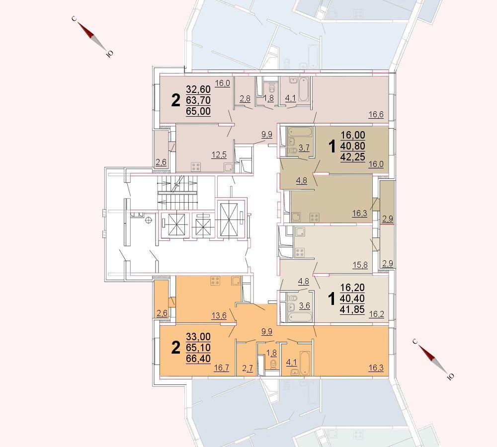 Микрорайон «Центральный», корпус 52а, секция 2, этаж/этажи 10-13