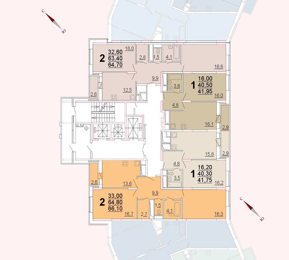 Микрорайон «Центральный», корпус 52а, секция 2, этаж/этажи 14-15
