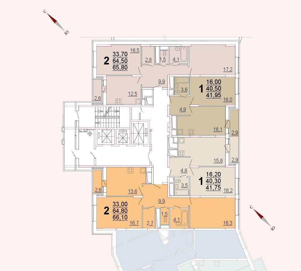 Микрорайон «Центральный», корпус 52а, секция 2, этаж/этажи 16-21