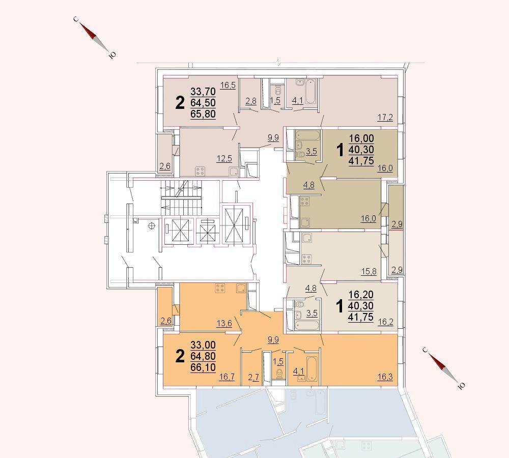 Микрорайон «Центральный», корпус 52а, секция 2, этаж/этажи 22-23