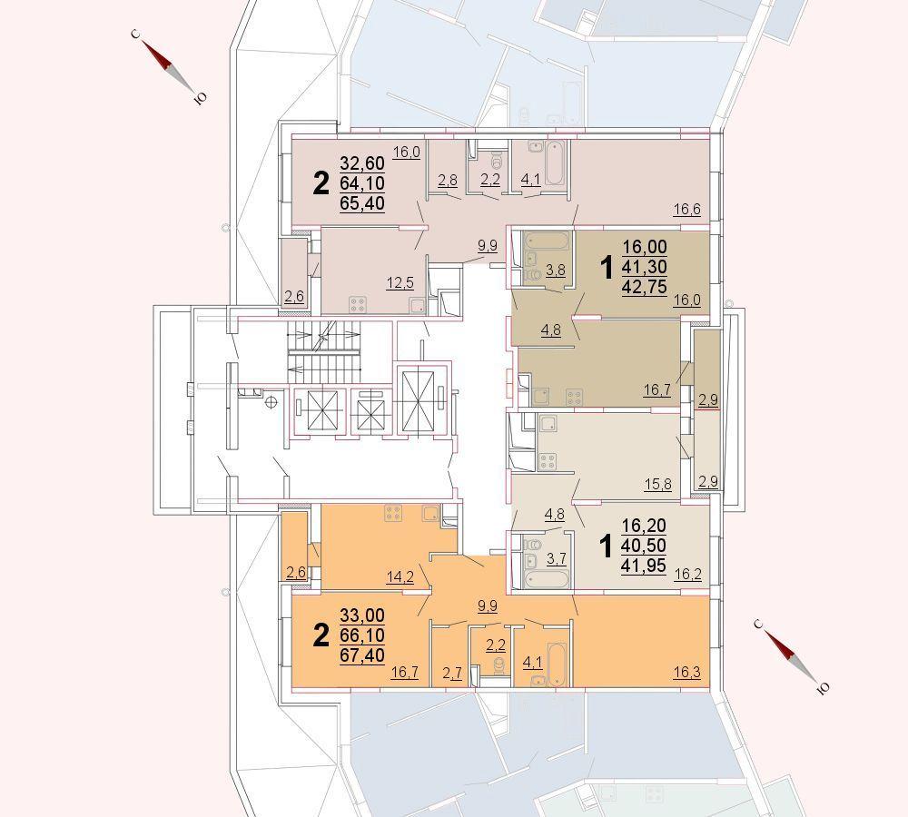 Микрорайон «Центральный», корпус 52а, секция 2, этаж/этажи 2