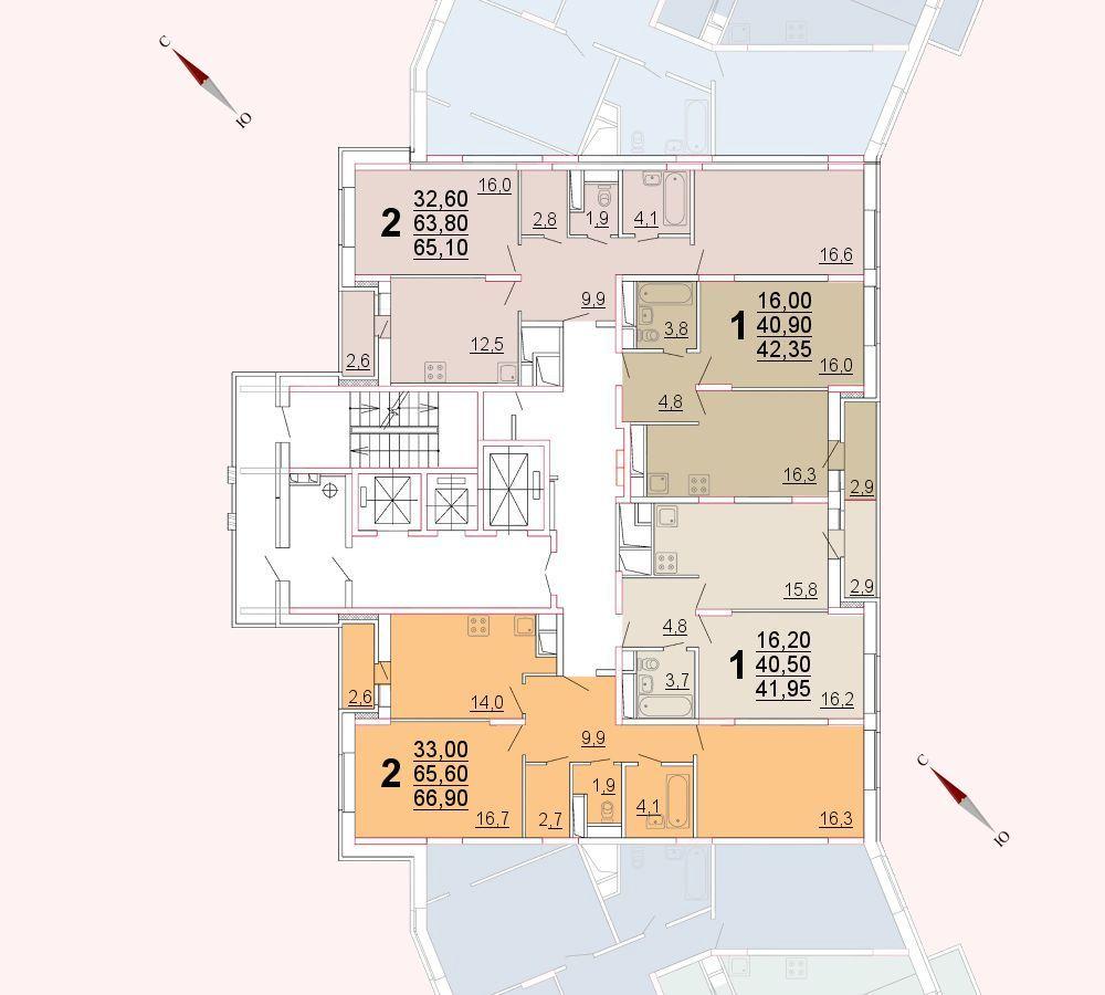 Микрорайон «Центральный», корпус 52а, секция 2, этаж/этажи 6-9