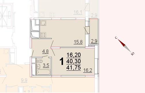 Микрорайон «Центральный», корпус 52а, секция 2, квартира 41,75 м2