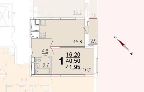 Микрорайон «Центральный», корпус 52а, секция 2, квартира 41,95 м2