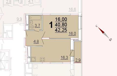 Микрорайон «Центральный», корпус 52а, секция 2, квартира 42,25 м2