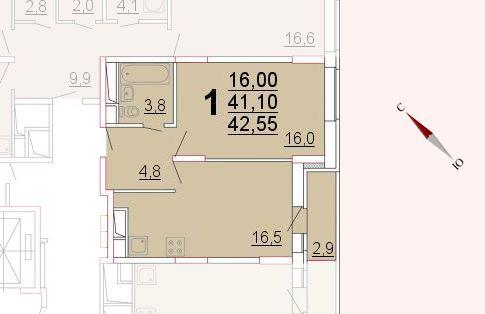 Микрорайон «Центральный», корпус 52а, секция 2, квартира 42,55 м2