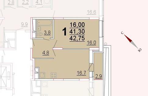 Микрорайон «Центральный», корпус 52а, секция 2, квартира 42,75 м2