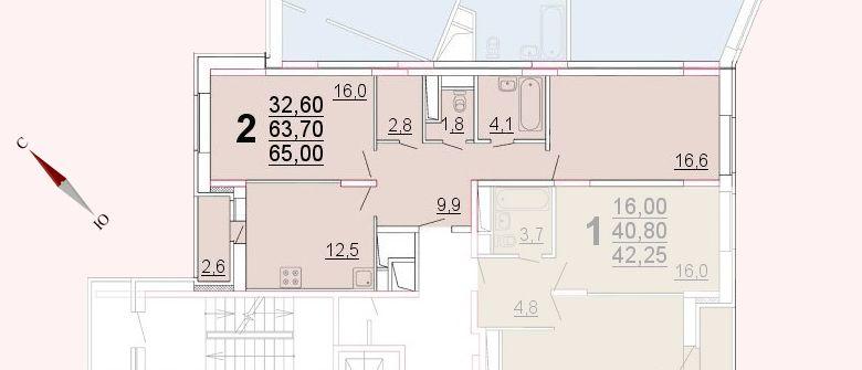 Микрорайон «Центральный», корпус 52а, секция 2, квартира 65,00 м2