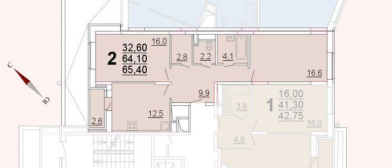 Микрорайон «Центральный», корпус 52а, секция 2, квартира 65,40 м2