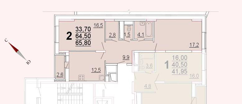 Микрорайон «Центральный», корпус 52а, секция 2, квартира 65,80 м2