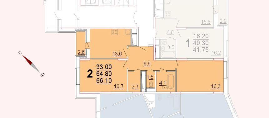 Микрорайон «Центральный», корпус 52а, секция 2, квартира 66,10 м2