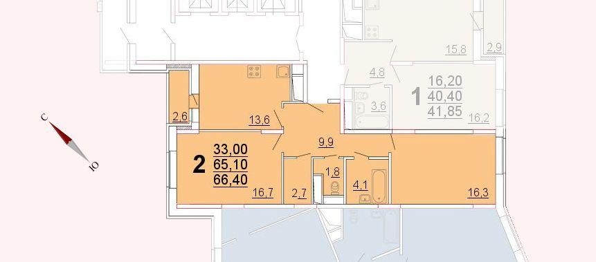Микрорайон «Центральный», корпус 52а, секция 2, квартира 66,40 м2