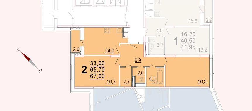 Микрорайон «Центральный», корпус 52а, секция 2, квартира 67,00 м2
