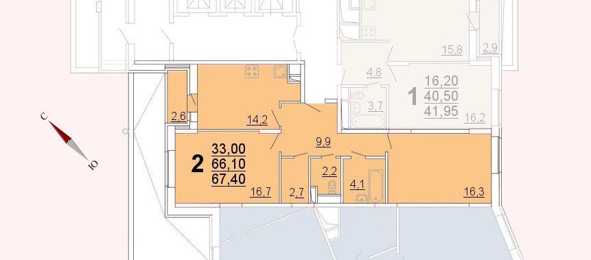 Микрорайон «Центральный», корпус 52а, секция 2, квартира 67,40 м2