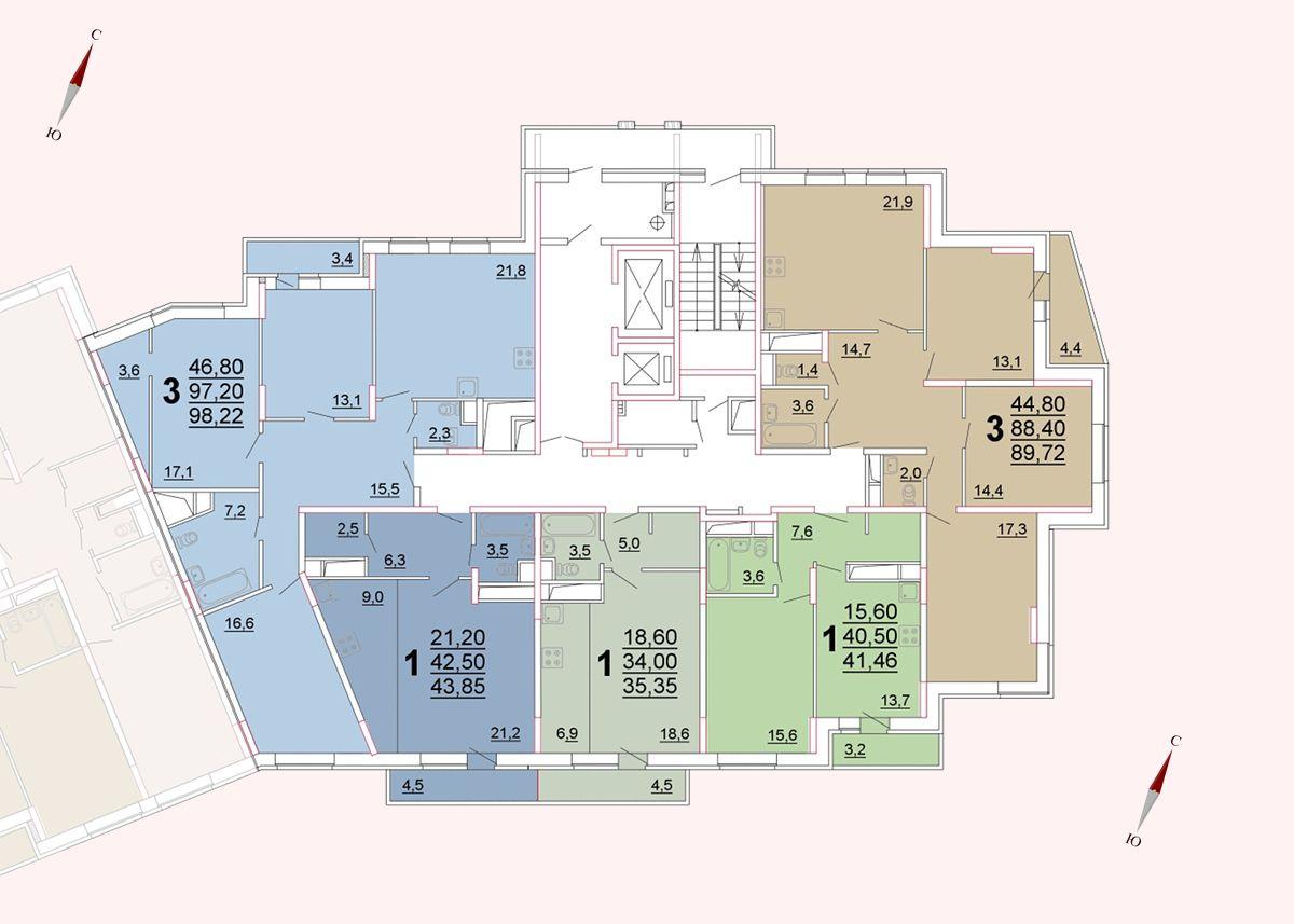 Микрорайон «Центральный», корпус 52а, секция 3, этаж/этажи 10-14