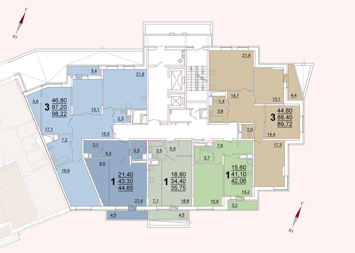 Микрорайон «Центральный», корпус 52а, секция 3, этаж/этажи 2