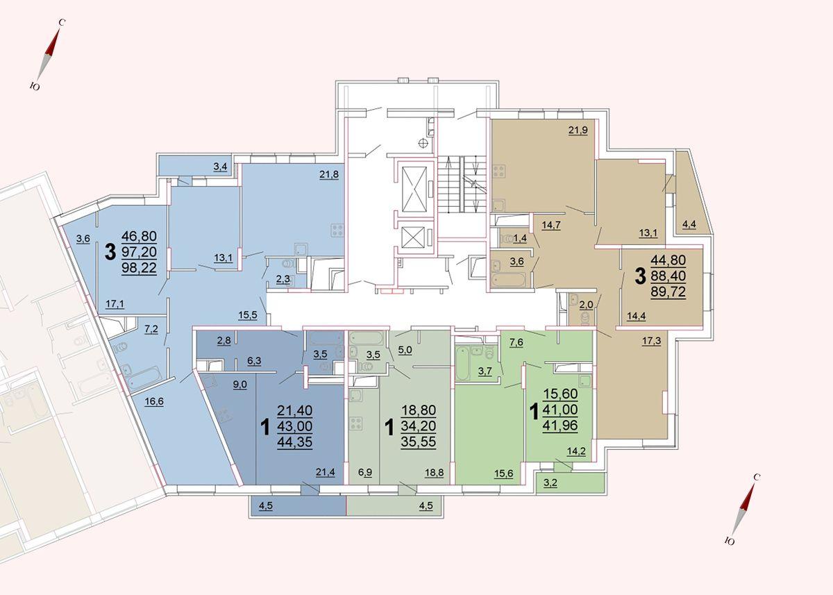 Микрорайон «Центральный», корпус 52а, секция 3, этаж/этажи 3-5