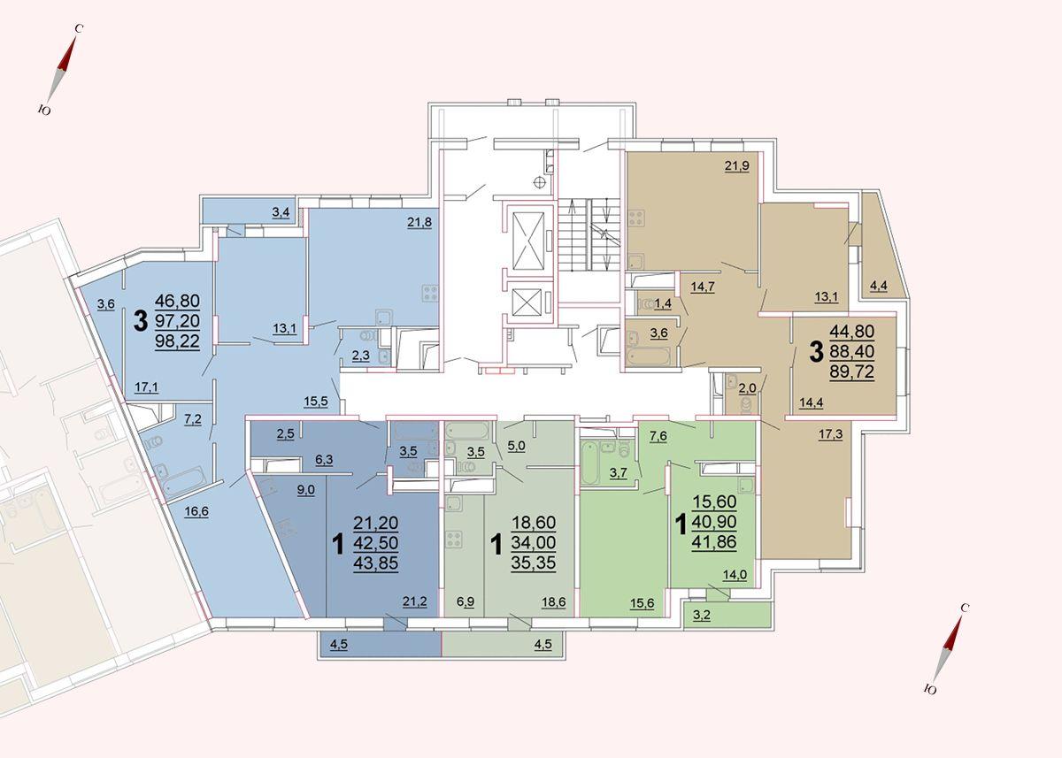 Микрорайон «Центральный», корпус 52а, секция 3, этаж/этажи 6-9